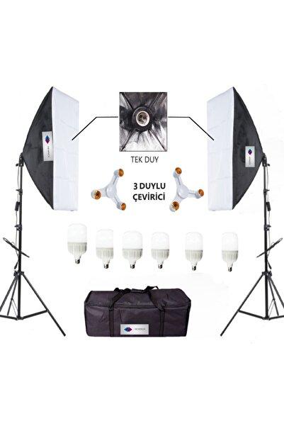 Deyatech Softbox 50x70 Sürekli Video Işık 3 Duylu 6500 kl  Led Işık Ikili Işık Set