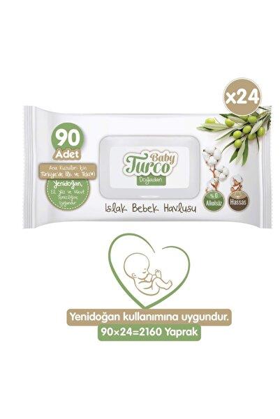 Baby Turco Doğadan Yenidoğan Islak Bebek Havlusu 24x90 Yaprak