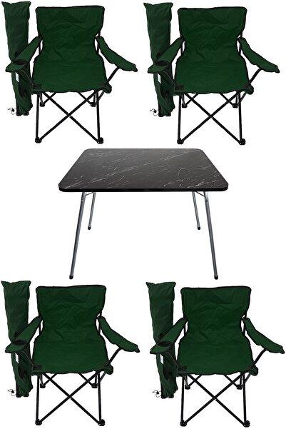 Bofigo Granit Katlanır Masa ve 4 Adet Kamp Sandalyesi Yeşil