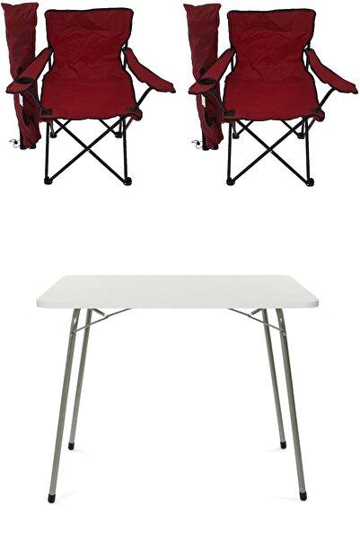 Bofigo Katlanır Masa + 2 Adet Kamp Sandalyesi Kırmızı