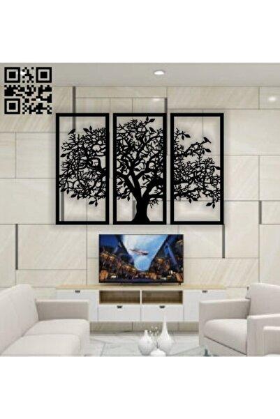 windfallcollection Son Bahar 3'lü Siyah Çınar Ağacı Ahşap Tablo Dekorasyon Salon Ofis Tasarım Leaf Dekoratif