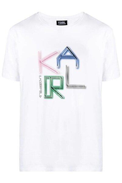 Karl Lagerfeld Complex Baskı Beyaz T-shirt