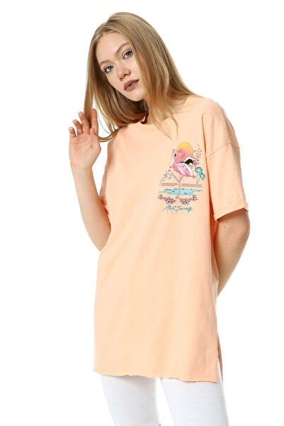 Masorte Ön&arka Flamingo Baskılı Melon T-shirt