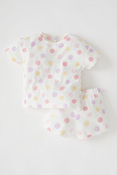 DeFacto Kız Bebek Puantiyeli Kısa Kollu Pamuklu Pijama Takımı