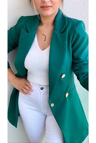 SEDA FİDAN Kadın Uzun Gold Düğmeli Blazer Ceket Koyu Zümrüt Yeşil
