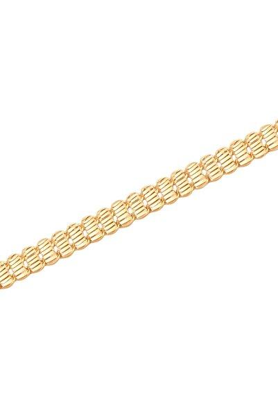 Diamond Line-Gülaylar Sarı Altın 14 Ayar Pullu Bileklik