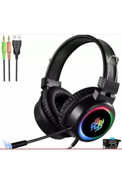 Yoro V5 Profesyonel Işıklı Oyuncu Kulaklığı USB Ve 3.5 Mm Jack Kulaklık