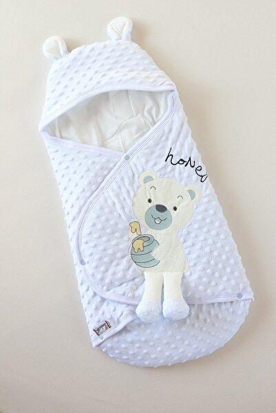 AE Group Erkek Bebek Sevimli Topitos Nakışlı Velboa Kundak