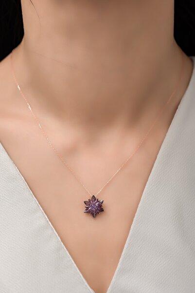 Nereze 925 Ayar Gümüş 4 Katman Mor Lotus Çiçeği Kolye