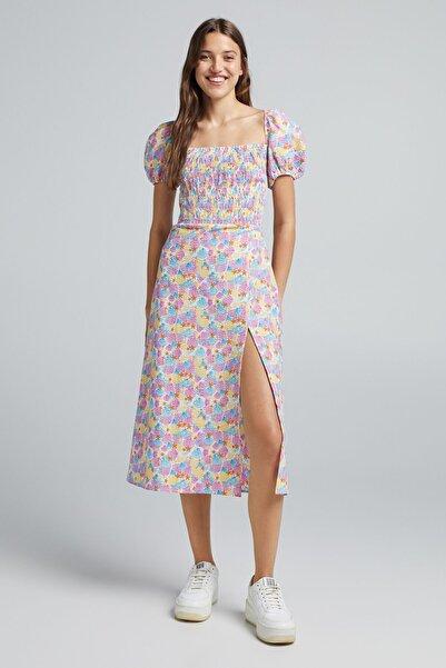 Bershka Sırtı Bağc��klı Desenli Elbise