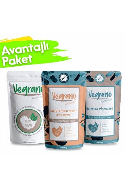 Vegrano Nutritional Yeast 100 G + Tapyoka Nişastası 100 G + Organik Keçiboynuzu Unu 100 G