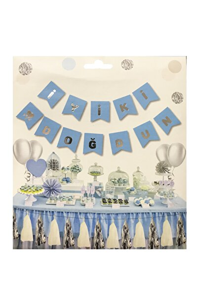 Parti dolabı Gümüş Mavi Doğum Günü Süsü İyi Ki Doğdun Yazı