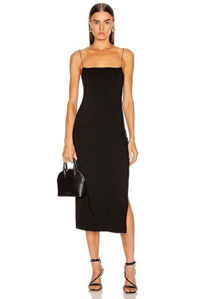 By Umut Design Kadın Düz Yaka Spagetti Askılı Yandan Yırtmaçlı Elbise 4574253