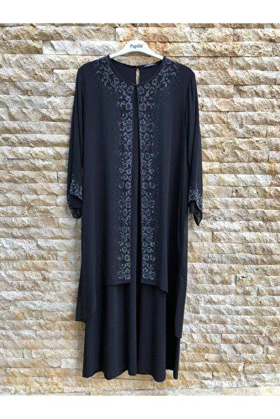 papilla Büyük Beden Elbise 9131 Siyah