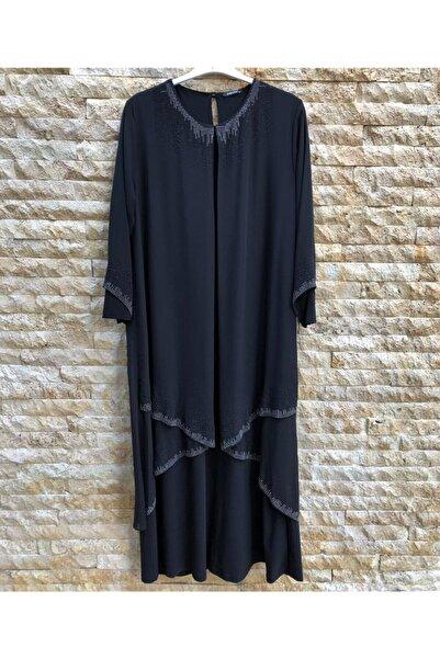 papilla Büyük Beden Elbise 9127 Siyah