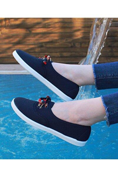 Shonex Kadın Lacivert Bağcıklı Günlük Spor Ayakkabı