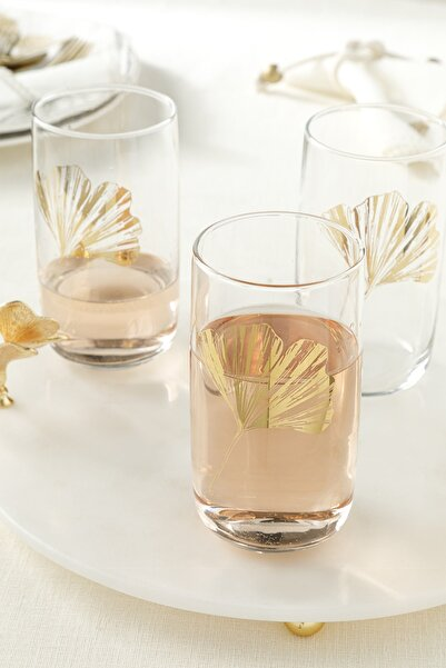 English Home Gingko Biloba Cam 3'lü Meşrubat Bardağı 365 Ml Gold