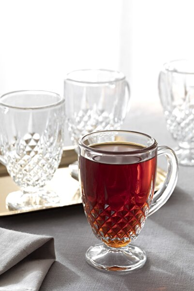 English Home Rich Cam 4'lü Kulplu Çay Bardağı 150 Ml Şeffaf