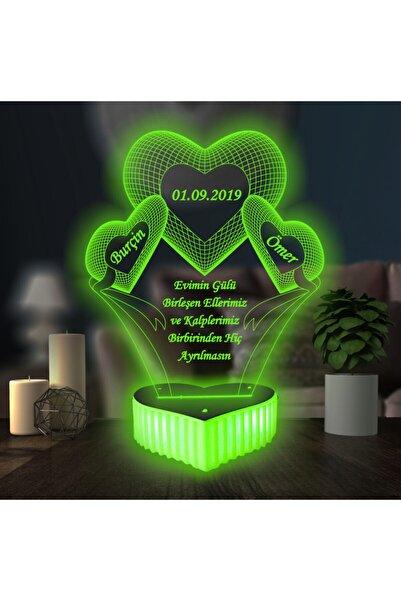 3D Hediye Dünyası 3 Kalpli Aşk Hediyesi Doğum Gününe Özel 16 Renkli Kumandalı