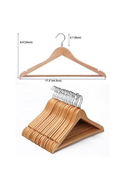 Adaşifa 12 Adet Vernikli Ahşap Elbise Askısı 1 Kalite Natural Ahşap Askı Çift Tarafı Vernikli