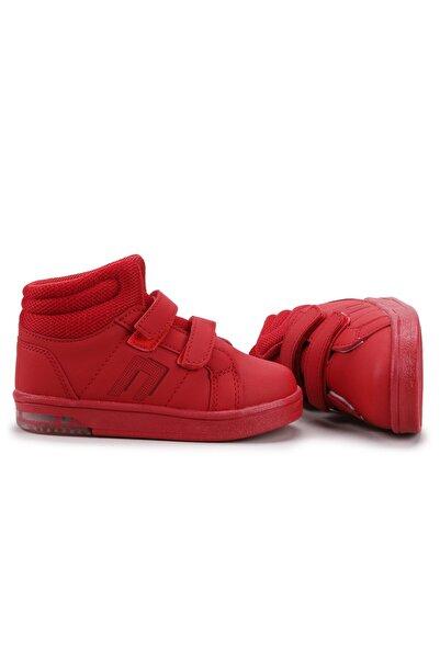 Potincim Kids Pkmn Boğazlı Cırtlı Işıklı  Çocuk Spor Bot Ayakkabı Kırmızı