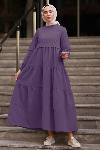 InStyle Tek Kat Detay Salaş Elbise - Mor