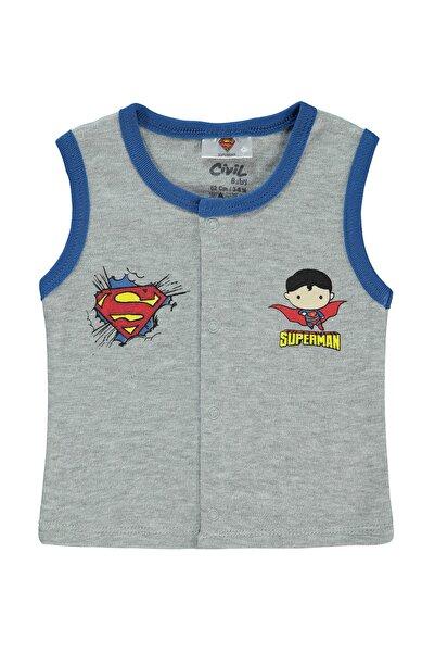 Albimini Superman Erkek Bebek Yelek 3-12 Ay Gri