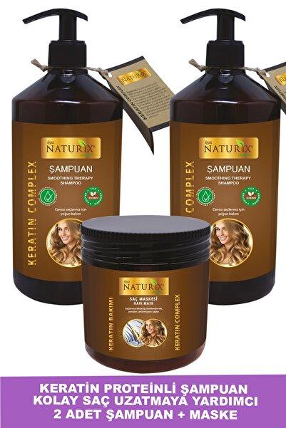 Ilgaz Naturix Organix Tuzsuz Keratin Şampuan 2 Adet 600 ml Onarıcı Bakım Şampuanı + 500 ml Keratin Bakım Maskesi