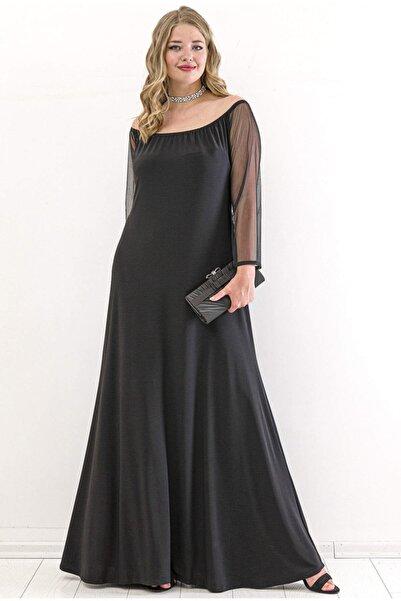ANGELINO Kadın Kol Şifon Omzu Açık Abiye Elbise PNR6189 Siyah T109991