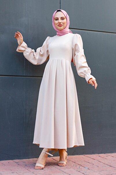 meqlife Balon Kollu Elbise Taş