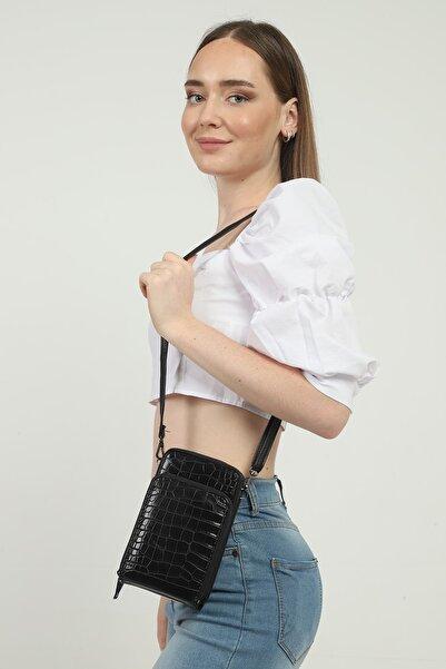 GÜLÇEM butik Kadın Murfi 5 Bölmeli Siyah Kroko Cüzdan Ve Omuz Çantası