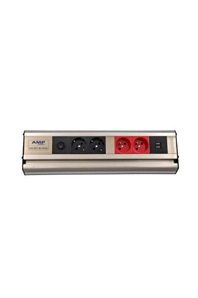AMP CONNECT Mutfak Tezgah Dolap Altı 38,5cm Led Işıklı 2ups 2 Şebeke Usb Priz