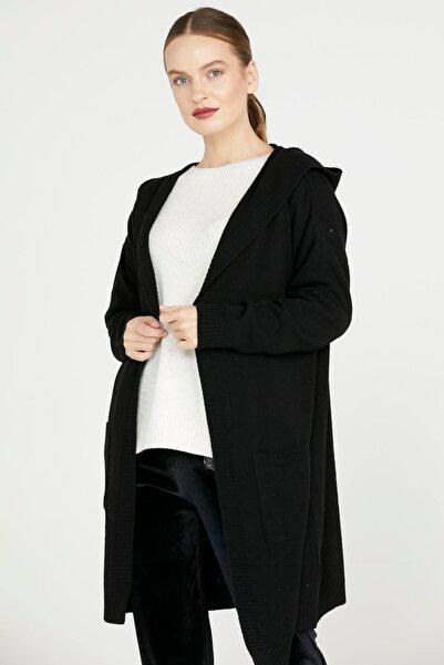 Sementa Kadın Siyah Kapüşonlu Uzun Triko Hırka