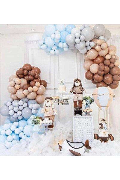 canbayhobi Soft Pastel Balon Zincir Karamel Gri Ten Rengi Mavi Balon Zincir