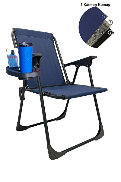 moniev Katlanır Kamp Piknik Sandalyesi Plaj Koltuğu Katlanır Şezlong Ve Oval Bardaklık Lacivert