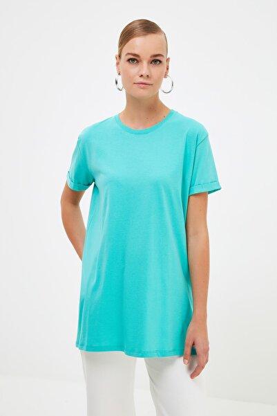 Trendyol Modest Yeşil Basic Kısa Kollu Örme T-Shirt TCTSS21RT0001