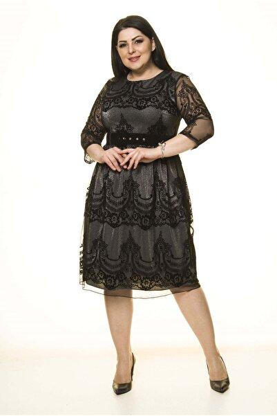 Moday Siyah Lame Astarlı Kemerli Büyük Beden Elbise J7-1596