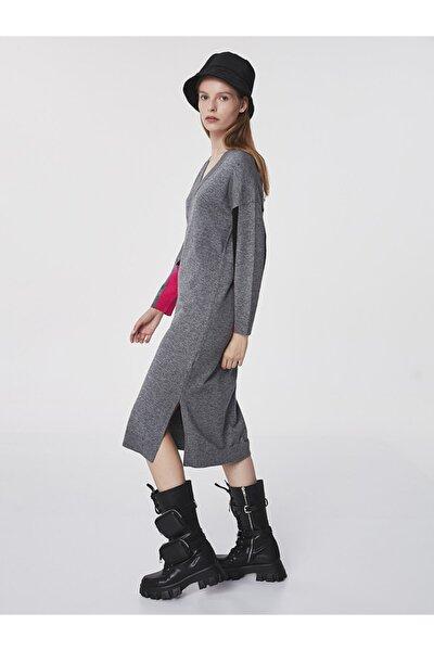 Twist Color Block V Yaka Elbise