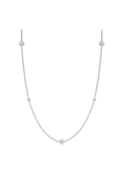 Luzdemia Kadın Gümüş Zirkon Taşlı Su Yolu Kolye (flower Tennis Neck 925 Long)