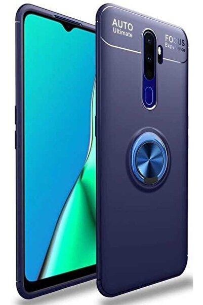 Oppo A5 A9 2020  Uyumlu Yüzüklü Mıknatıslı Silikon Mavi Kılıf