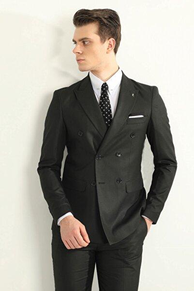 Fc Plus Siyah Kruvaze Erkek Takım Elbise - Slım Fıt