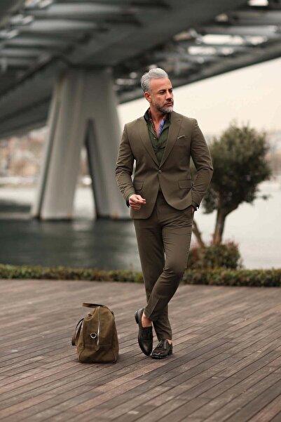 Fc Plus Erkek Haki Yelekli Takım Elbise