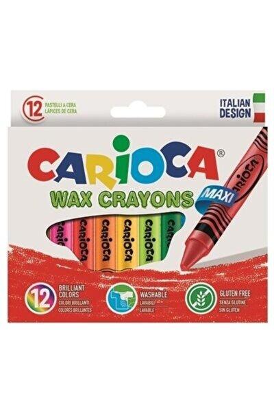 CARIOCA Jumbo Elleri Kirletmeyen Yıkanabilir Mum Boya Kalemi 12li