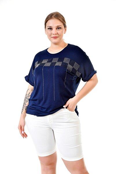 RMG Taş Baskılı Büyük Beden Lacivert Tişört