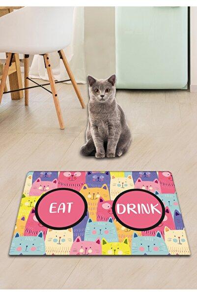 Chilai Home Pvc Cats Renkli Kedi Köpek Mama Paspası