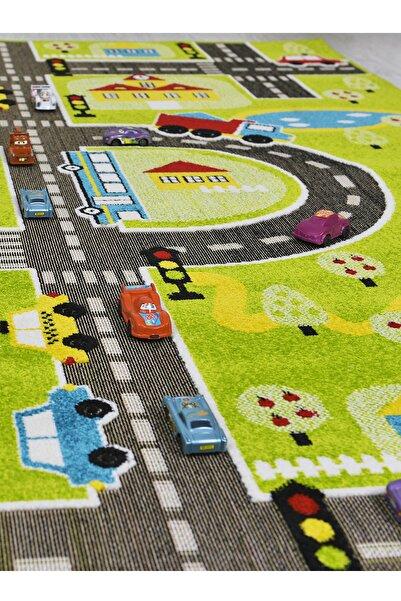 Odeon Halı 3 Boyutlu Yeşil Trafik Arabalı Dokuma Çocuk Oyun Halısı