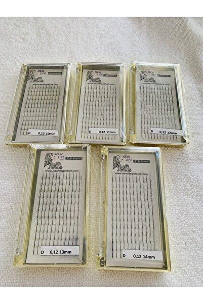 New Life Ipek Kirpik 3d- D Kıvrım 0,12 Kalınlık (AVANTAJ PAKETİ- 5 KUTU) 10-11-12-13-14mm Uzunluk