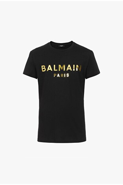 BALMAIN Gold Metalik Logo T-shirt