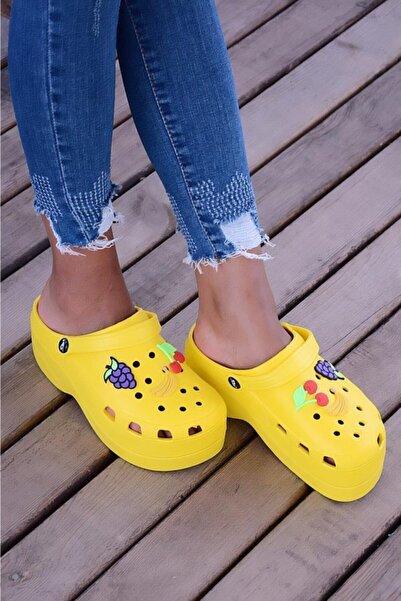 Pembe Potin Sarı Kadın Sandalet A246-19