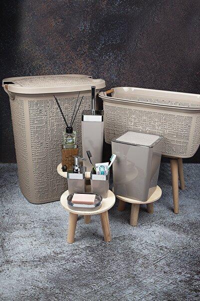 vipgross 7 Parça Çamaşır Ve Kirli Sepeti Ve Banyo Seti Krem 605-606-vialex Elit Krem Gümüş